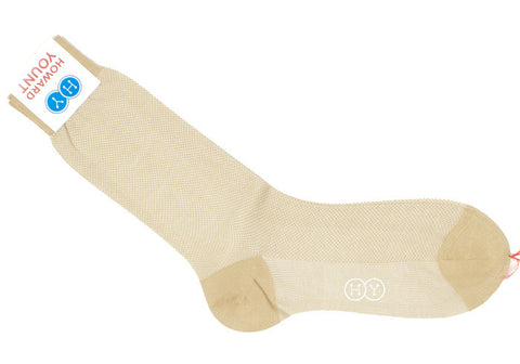 Birdseye Cotton HY Calf Socks - Tan