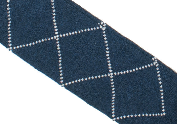Diamond Cotton Calf Socks - Blue