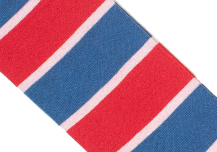 Double Stripe Cotton Calf Socks - Red and Blue