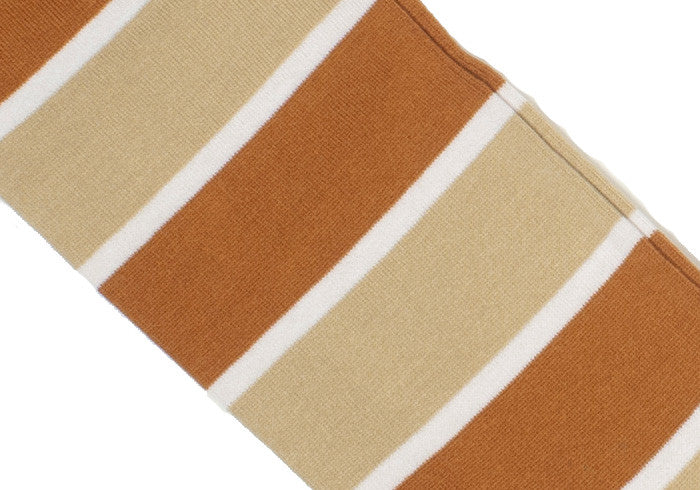 Double Stripe Cotton Calf Socks - Orange and Tan