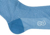 Greek Key Cotton Calf Socks - Blue