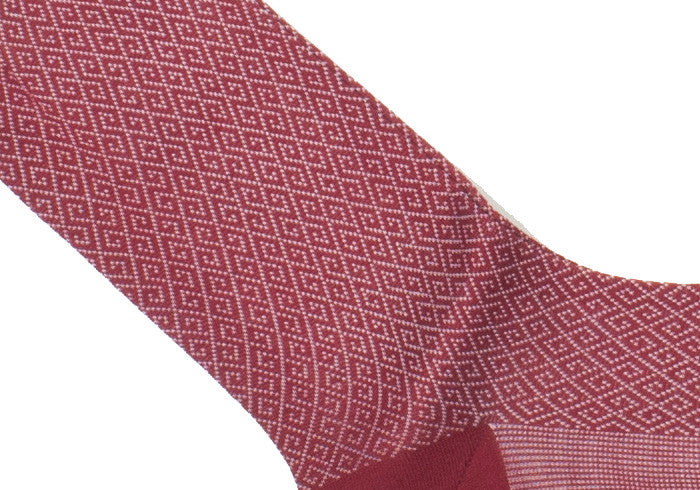 Greek Key Cotton HY Calf Socks - Red