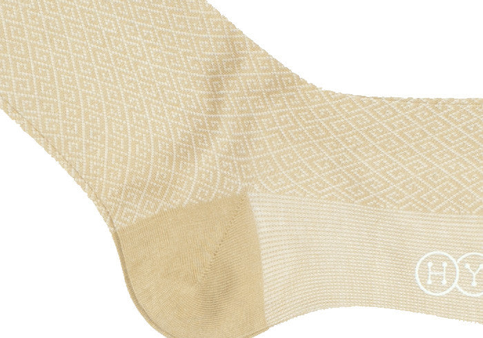 Greek Key Cotton Calf Socks - Tan