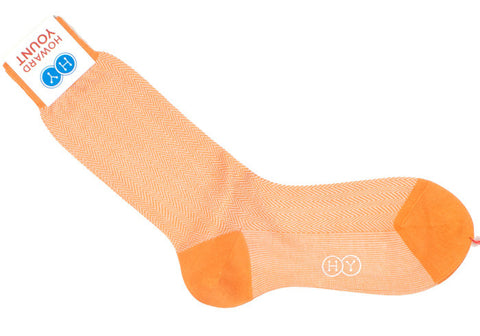 Herringbone Cotton HY Calf Socks - Orange