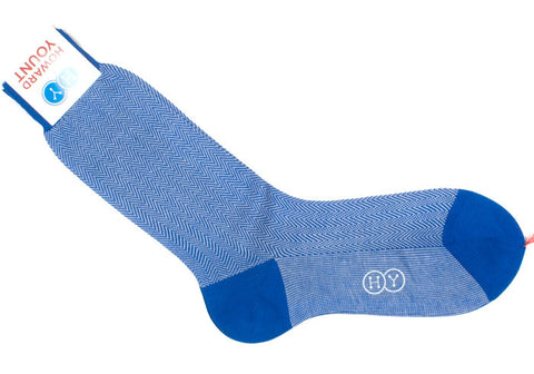 Herringbone Cotton HY Calf Socks - Royal Blue