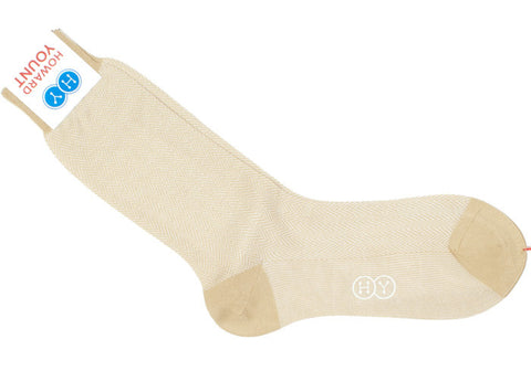 Herringbone Cotton HY Calf Socks - Tan
