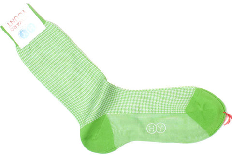 Houndstooth Cotton HY Calf Socks - Lime