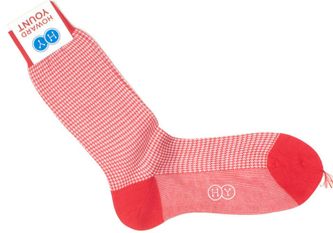 Houndstooth Cotton HY Calf Socks - Red