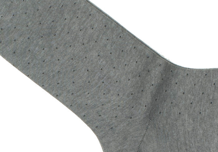 Pindot Cotton HY Calf Socks - Mid Gray