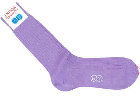 Ribbed Cotton Calf HY Socks - Lilac