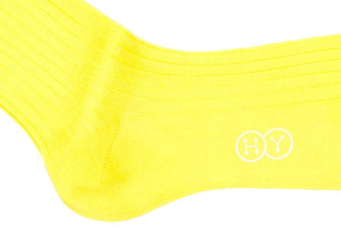 Ribbed Cotton Calf HY Socks - Yellow