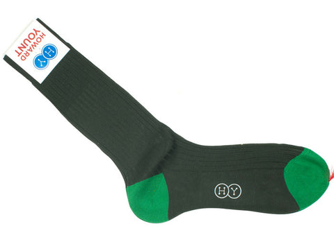 Ribbed Cotton HY Calf Socks - Green