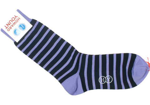 Rugby Stripe Cotton Calf Socks - Navy and Purple