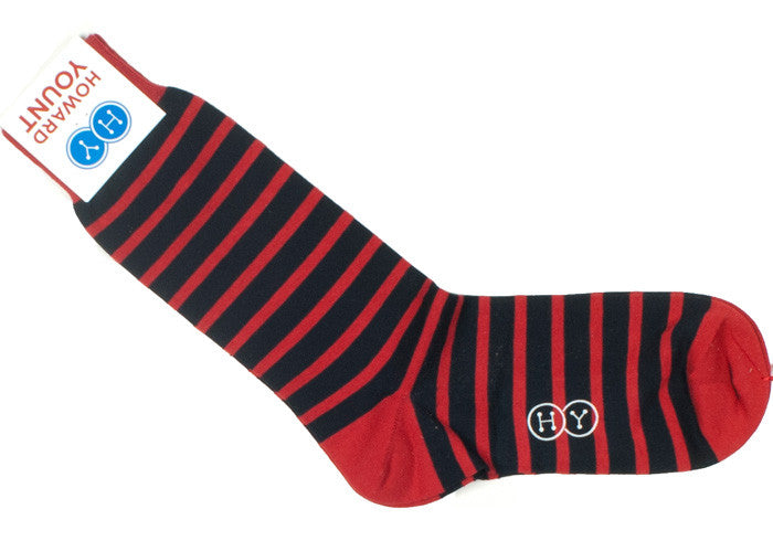 Rugby Stripe Cotton HY Calf Socks - Navy and Red