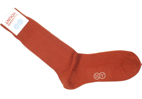 Ribbed Wool Calf Socks - Brick Orange