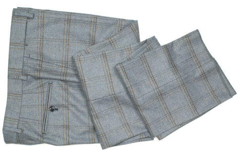 Windowpane Pants - Blue/Gray and Brown