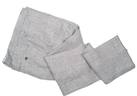 Linen and Wool Glen Plaid Pants  - Gray