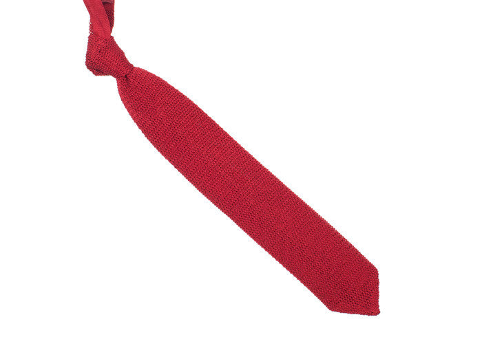 Silk Knit Tie Pointed - Red