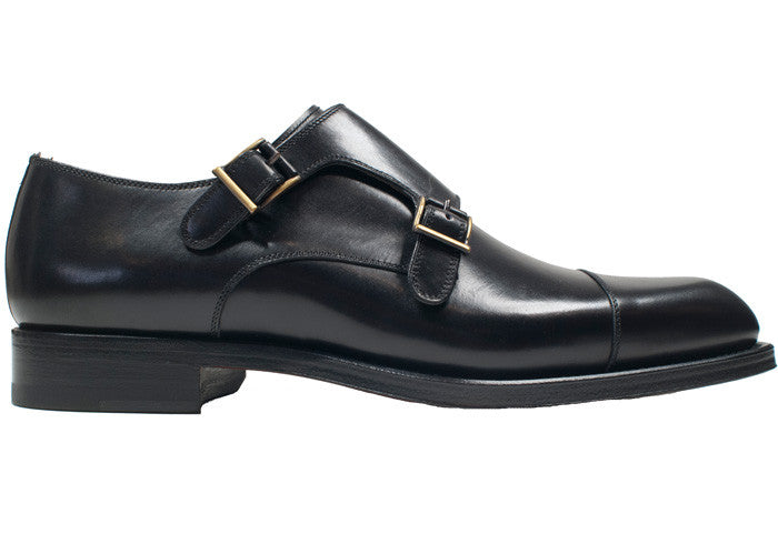 Black Double Monk Strap
