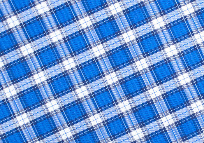 Plaid Cotton Pocket Square - Blue and White