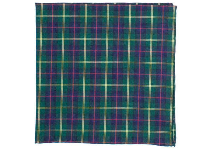 Plaid Cotton Pocket Square - Navy, Green, Red, Yellow