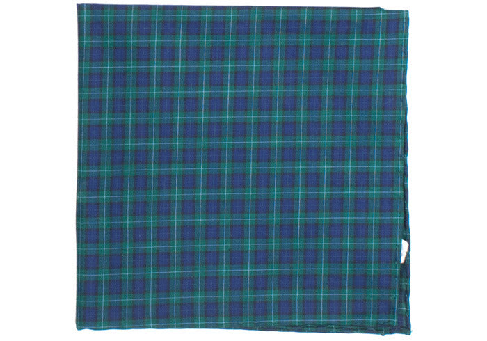 Plaid Cotton Pocket Square - Navy and Green