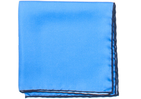 Silk Contrast Edge Pocket Square - Blue and Navy