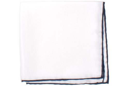 Silk Contrast Edge Pocket Square - White and Navy