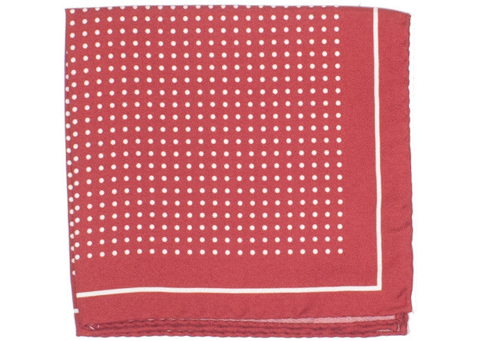 Silk Dot Bordered Pocket Square - Burnt Orange