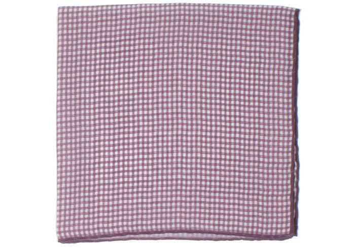 Washed Silk Gingham Pocket Square - Red
