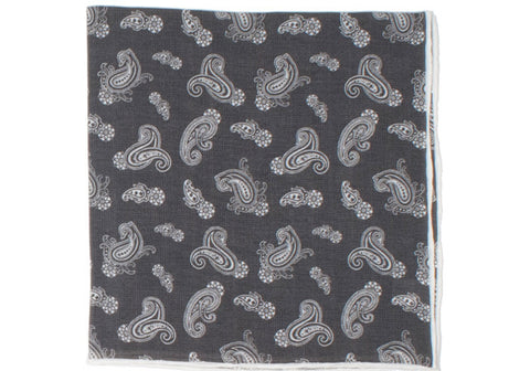 Washed Silk Paisley Pocket Square - Brown