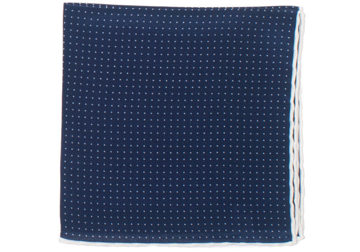 Silk Pindot Pocket Square - Navy and White