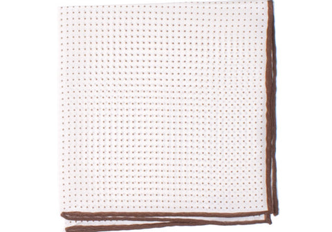 Silk Pindot Pocket Square - White and Brown