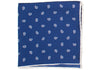 Silk White Paisley Pocket Square - Navy