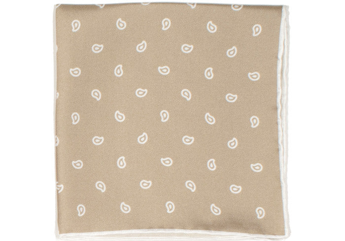 Silk White Paisley Pocket Square - Tan