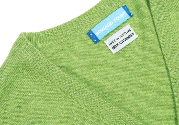Green Cashmere V-Neck with Suede Patches