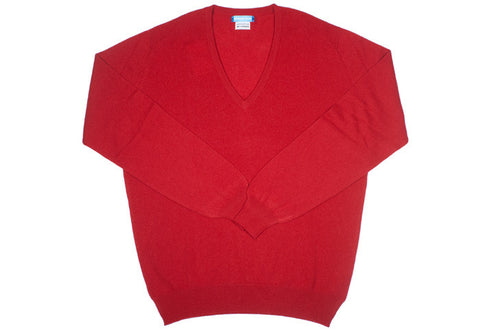 Cashmere V-Neck - Ruby
