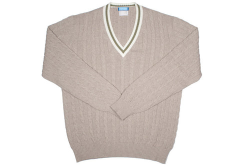 Cotton Tennis Sweater - Natural and Green