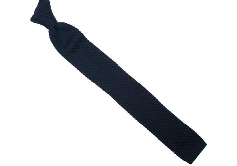 Wool Knit Tie, Flat End - Navy