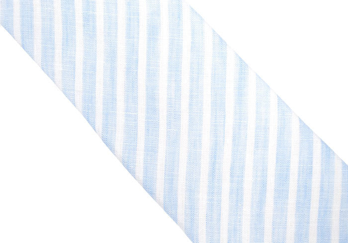 Linen Tie - Light Blue Stripe