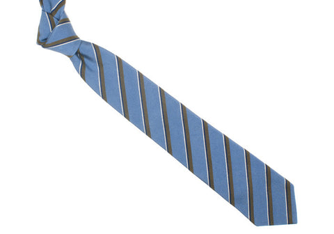 Silk Velvet Stripe Tie - Blue