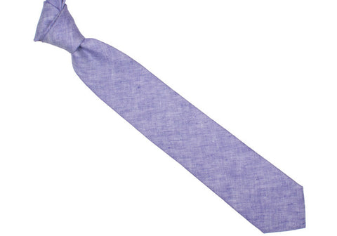 Solid Linen Tie - Purple