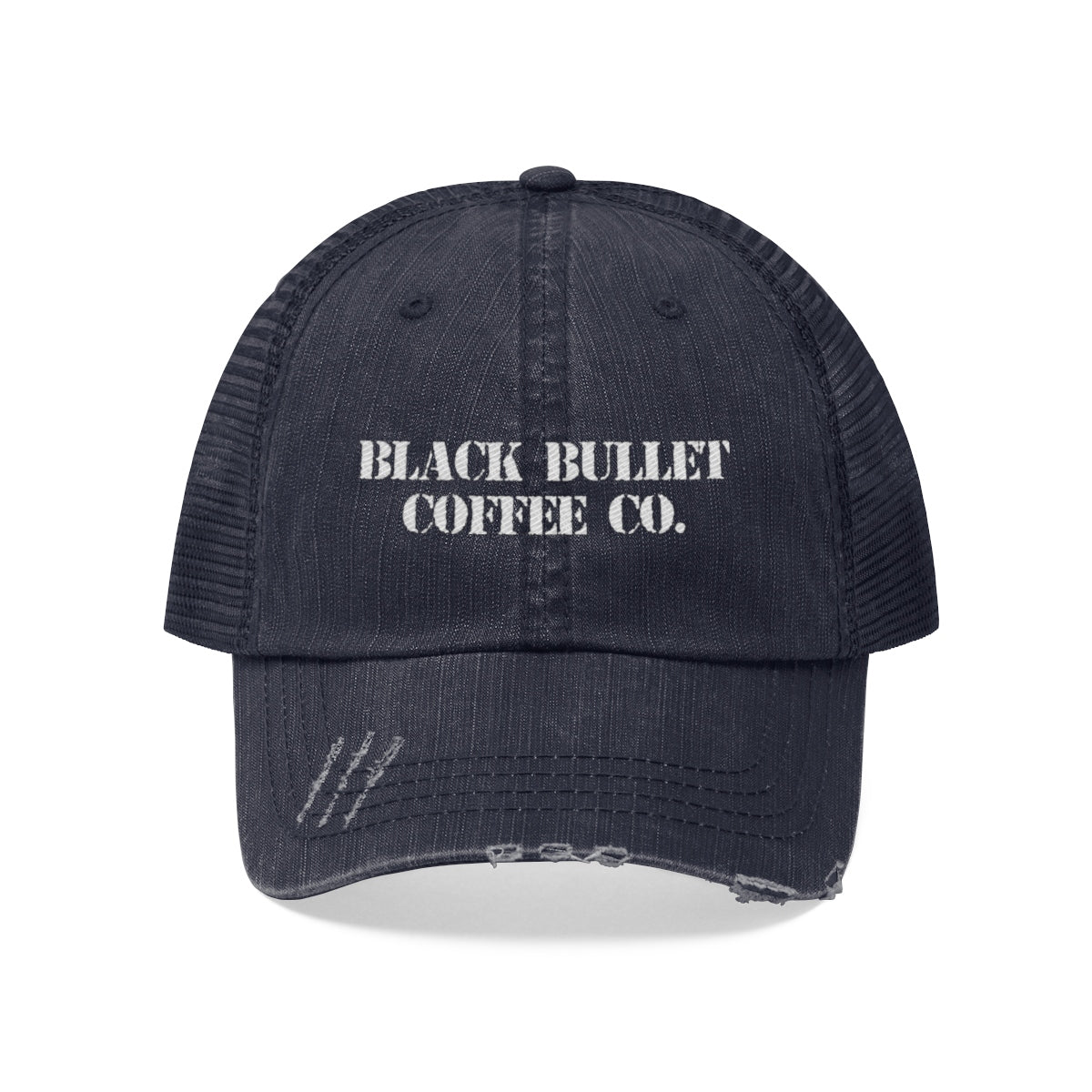b9c0d010de524 Black Bullet Coffee Distressed Trucker Hat -  23