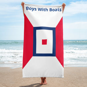 Boys With Boats Beach Towel