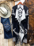 Black & White Draped Fringe Cardigan - Ranch-Land Western Store