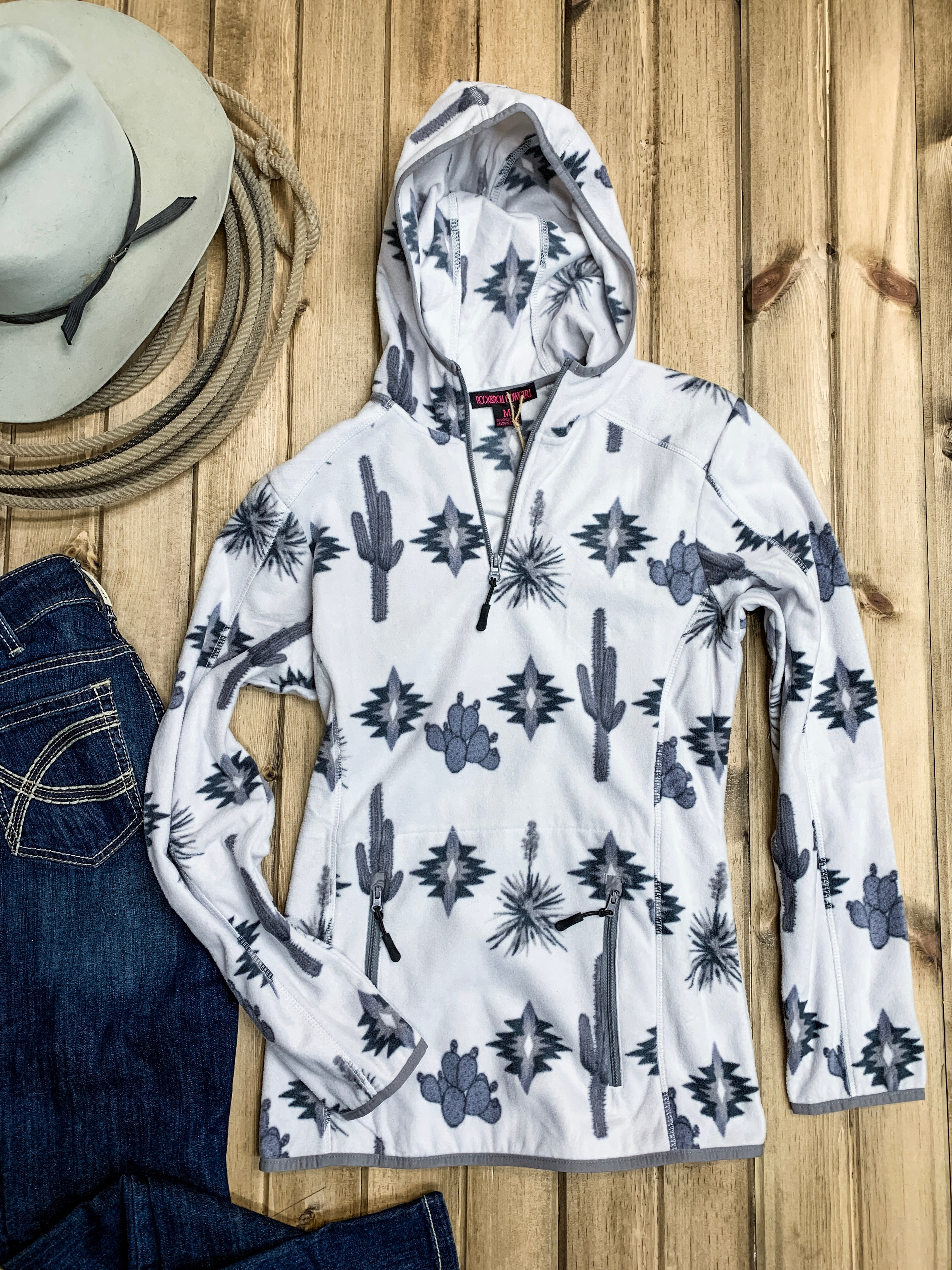Southwest Print Quarter Zip Fleece Pullover - Ranch-Land Western Store