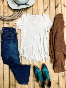 Oatmeal V-Neck Modal Tee - Ranch-Land Western Store
