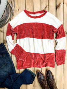 Raspberry Stripe Chenille Sweater - Ranch-Land Western Store