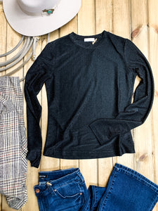 Metallic Black Crew Neck Top - Ranch-Land Western Store