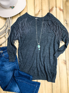 Charcoal Dolman Sleeve Fringe Sweater - Ranch-Land Western Store